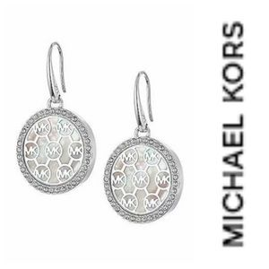 Michael Kors logo Silvertone Earrings